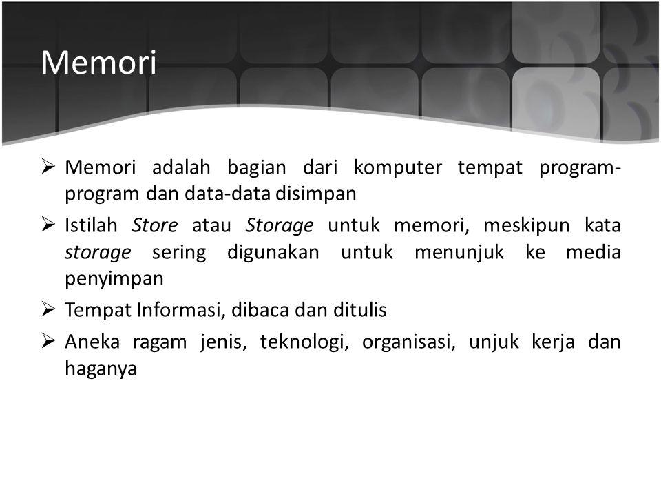 Memori Memori adalah bagian dari komputer tempat program-program dan data-data disimpan.