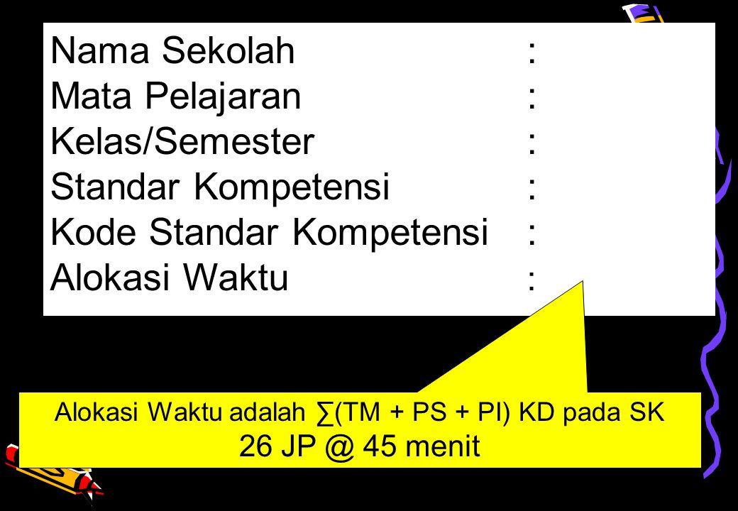 Alokasi Waktu adalah ∑(TM + PS + PI) KD pada SK