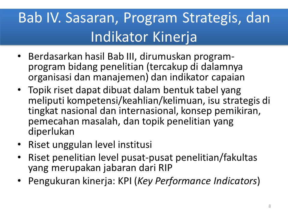 Bab IV. Sasaran, Program Strategis, dan Indikator Kinerja