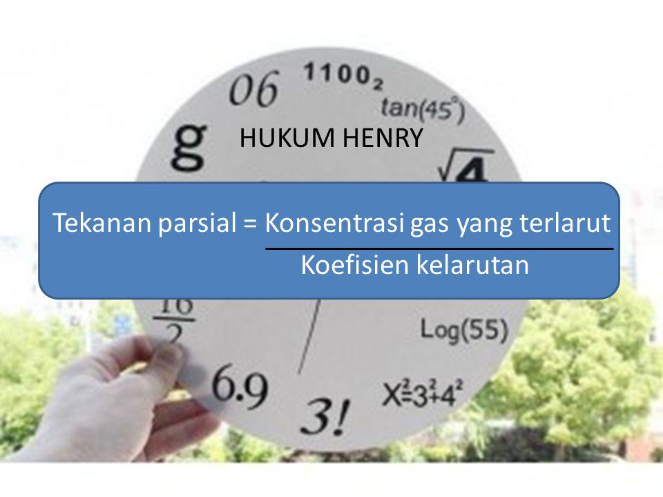 HUKUM HENRY Tekanan parsial = Konsentrasi gas yang terlarut Koefisien kelarutan