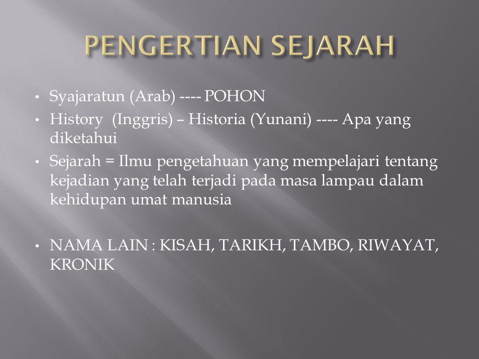 PENGERTIAN SEJARAH Syajaratun (Arab) ---- POHON