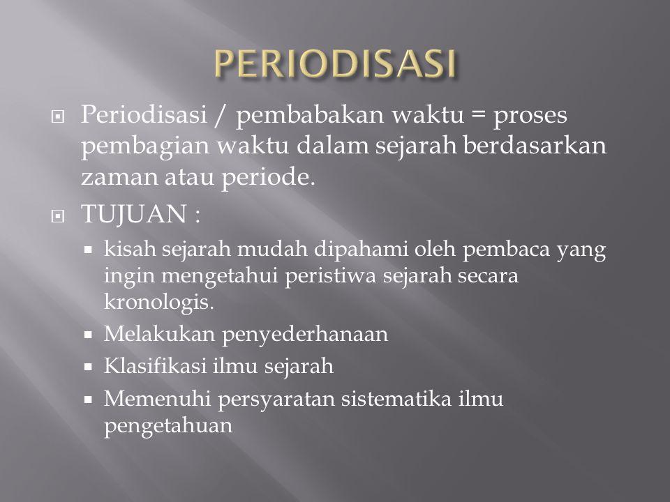 PERIODISASI Periodisasi / pembabakan waktu = proses pembagian waktu dalam sejarah berdasarkan zaman atau periode.