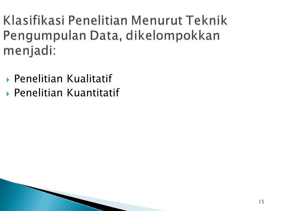 Klasifikasi Penelitian Menurut Teknik Pengumpulan Data, dikelompokkan menjadi:
