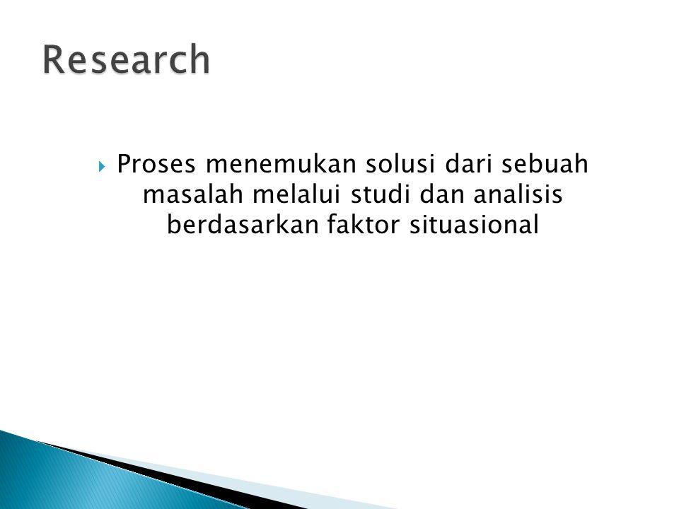 Research Proses menemukan solusi dari sebuah masalah melalui studi dan analisis berdasarkan faktor situasional.