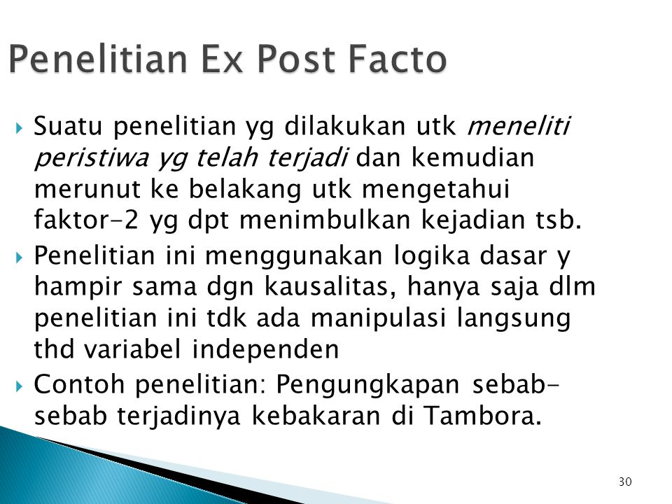 Penelitian Ex Post Facto