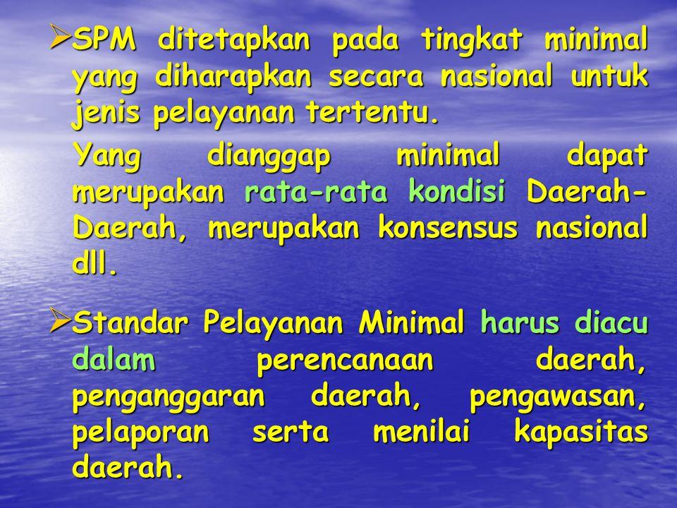 SPM ditetapkan pada tingkat minimal yang diharapkan secara nasional untuk jenis pelayanan tertentu.