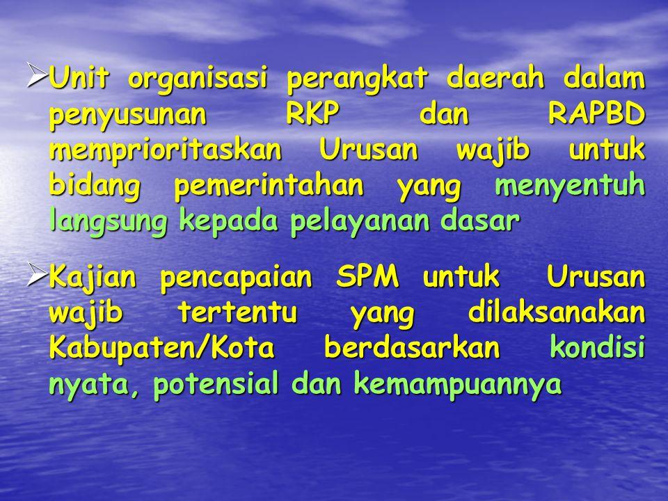 Unit organisasi perangkat daerah dalam penyusunan RKP dan RAPBD memprioritaskan Urusan wajib untuk bidang pemerintahan yang menyentuh langsung kepada pelayanan dasar