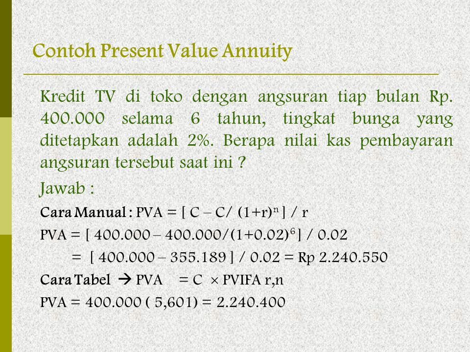 Contoh Present Value Annuity