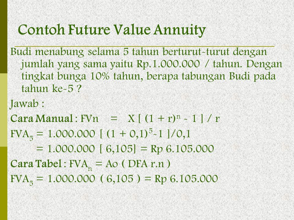 Contoh Future Value Annuity