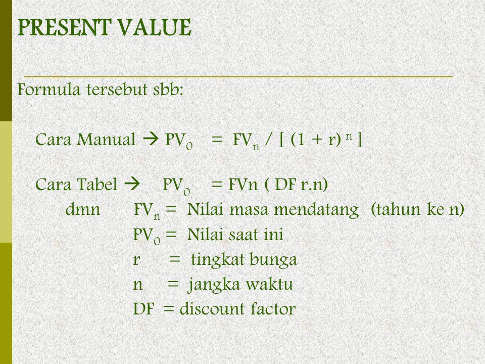 PRESENT VALUE Formula tersebut sbb: