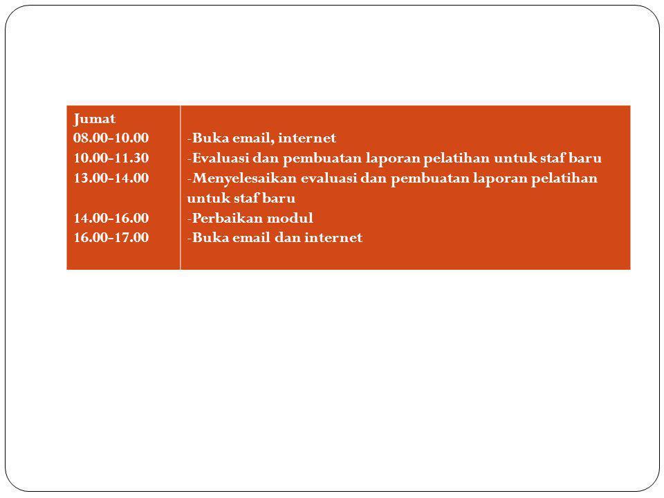 Jumat 08.00-10.00. 10.00-11.30. 13.00-14.00. 14.00-16.00. 16.00-17.00. Buka email, internet.