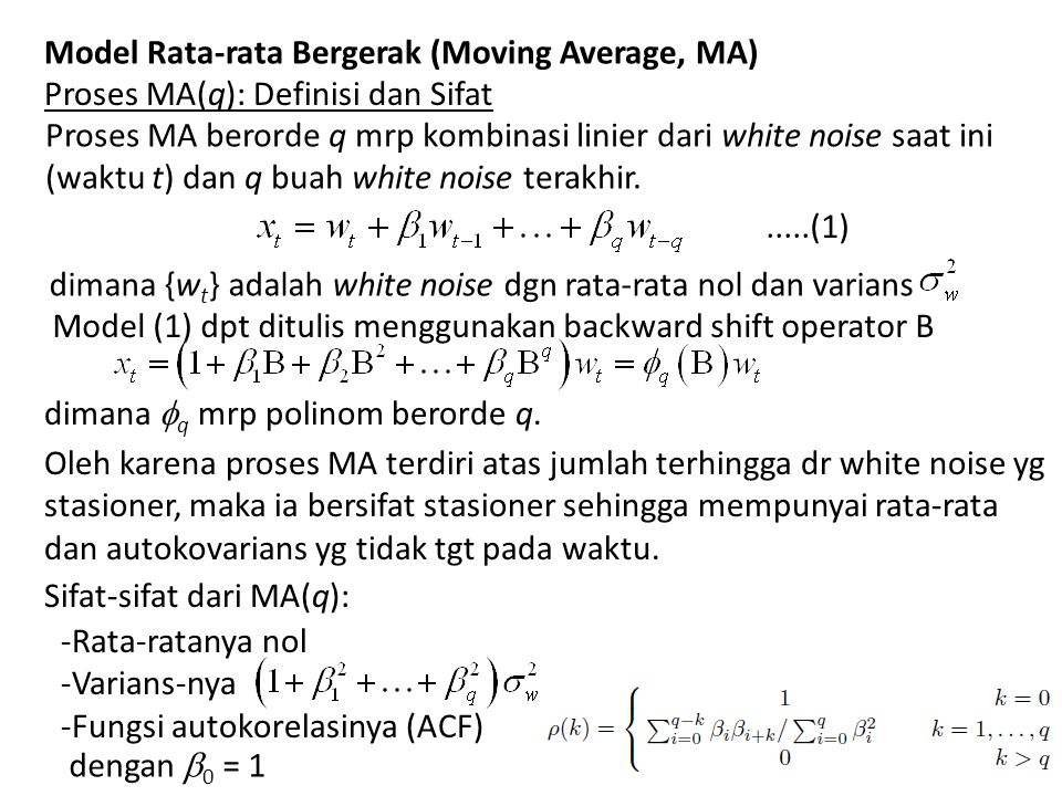 Model Rata-rata Bergerak (Moving Average, MA)