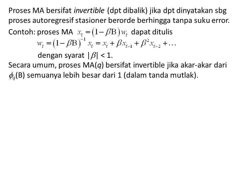 Proses MA bersifat invertible (dpt dibalik) jika dpt dinyatakan sbg proses autoregresif stasioner berorde berhingga tanpa suku error.