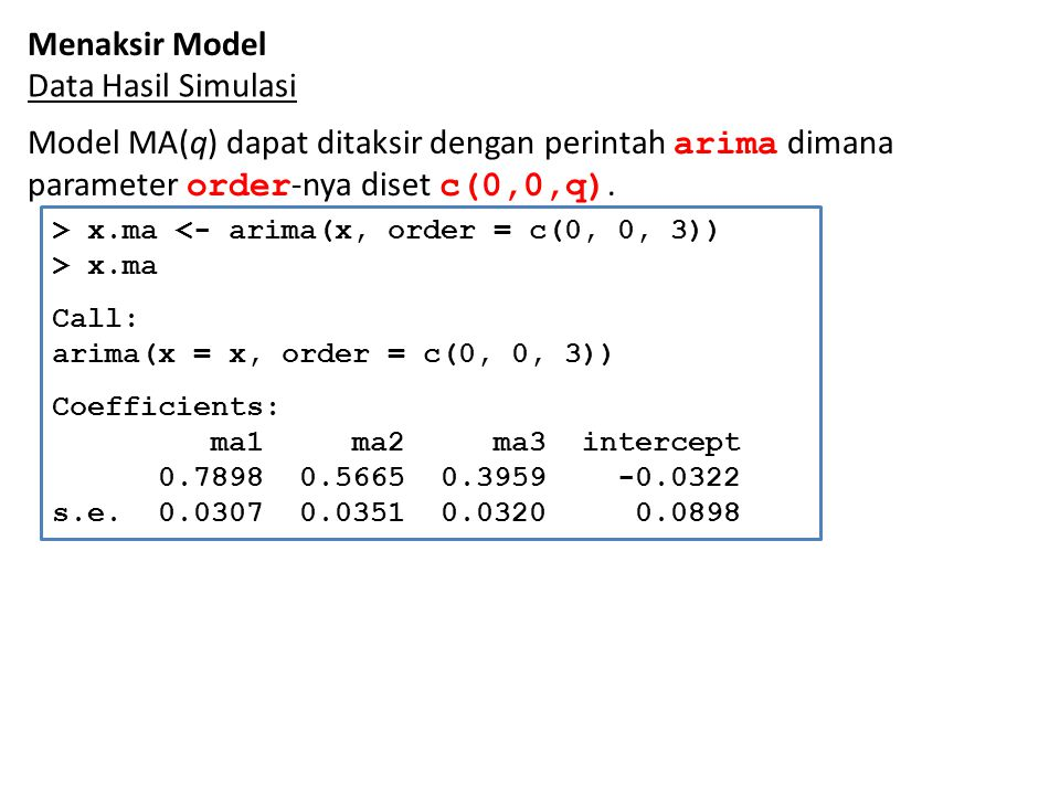 Menaksir Model Data Hasil Simulasi