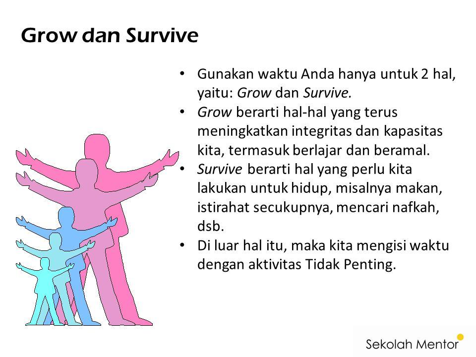 Grow dan Survive Gunakan waktu Anda hanya untuk 2 hal, yaitu: Grow dan Survive.