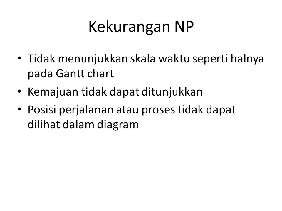 Kekurangan NP Tidak menunjukkan skala waktu seperti halnya pada Gantt chart. Kemajuan tidak dapat ditunjukkan.