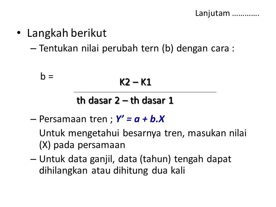 Langkah berikut Tentukan nilai perubah tern (b) dengan cara : b =