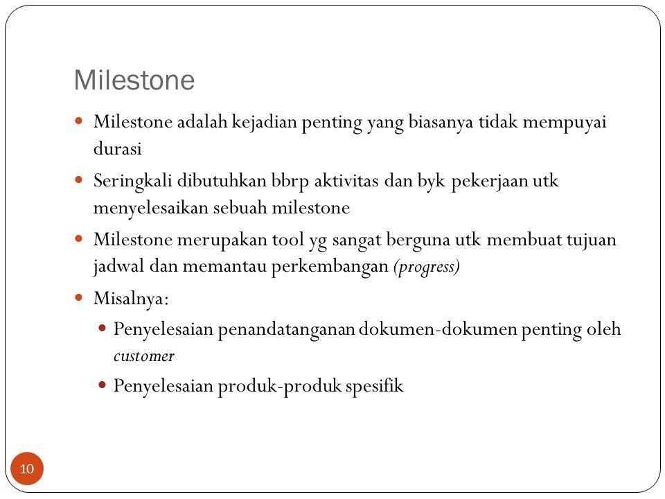 Milestone Milestone adalah kejadian penting yang biasanya tidak mempuyai durasi.