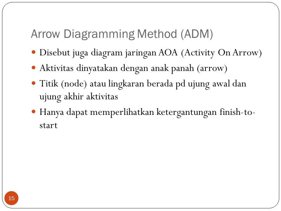 Arrow Diagramming Method (ADM)