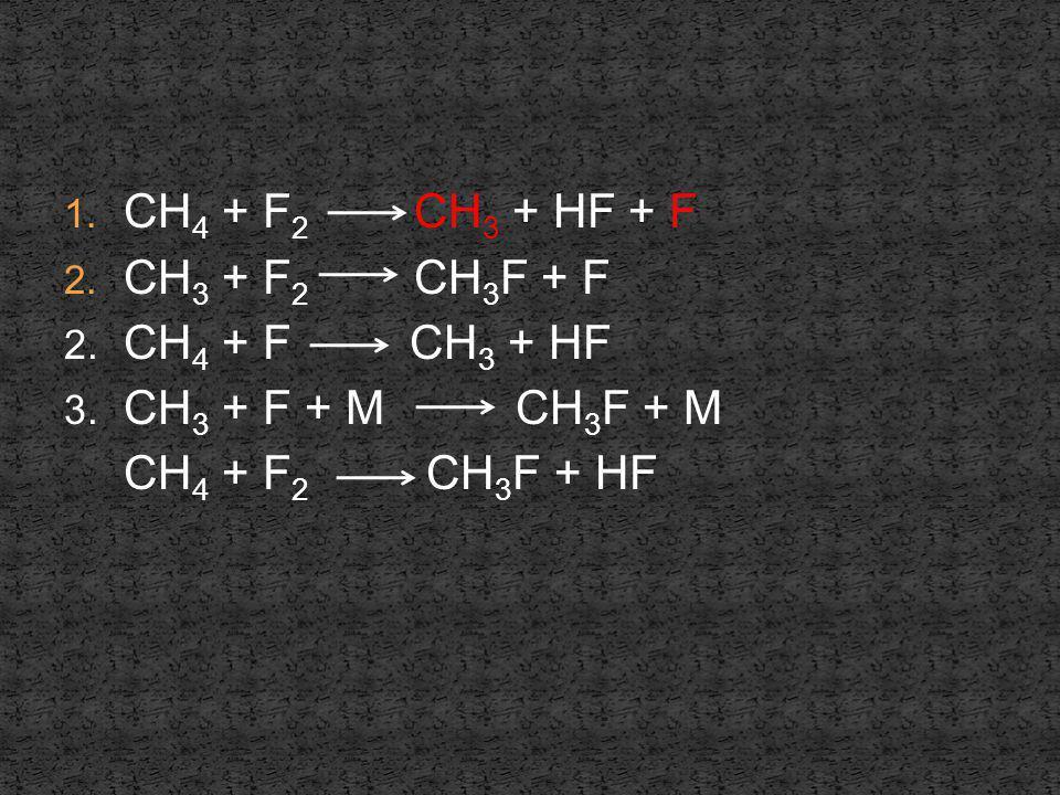 CH4 + F2 CH3 + HF + F CH3 + F2 CH3F + F CH4 + F2 CH3F + HF