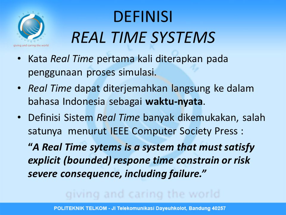 DEFINISI REAL TIME SYSTEMS