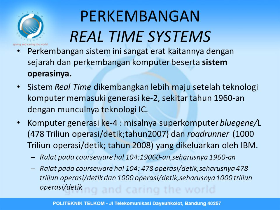 PERKEMBANGAN REAL TIME SYSTEMS
