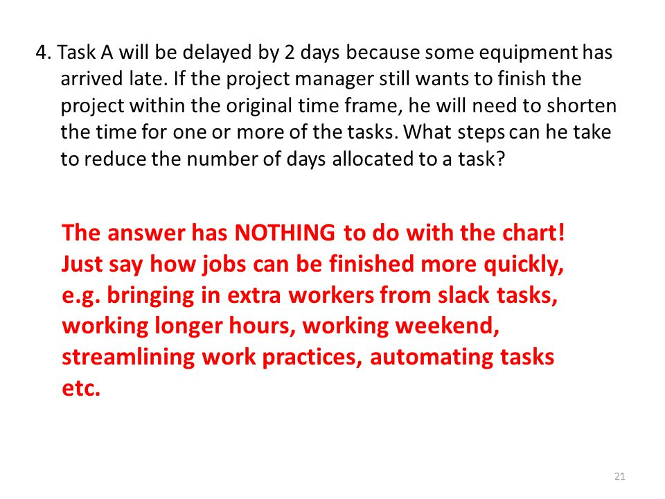 4. Task A will be delayed by 2 days because some equipment has arrived late. If the project manager still wants to finish the project within the original time frame, he will need to shorten the time for one or more of the tasks. What steps can he take to reduce the number of days allocated to a task