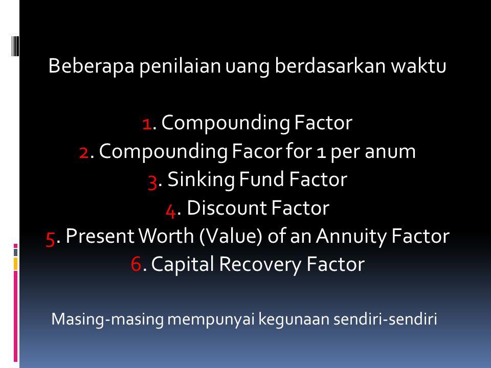 Beberapa penilaian uang berdasarkan waktu 1. Compounding Factor