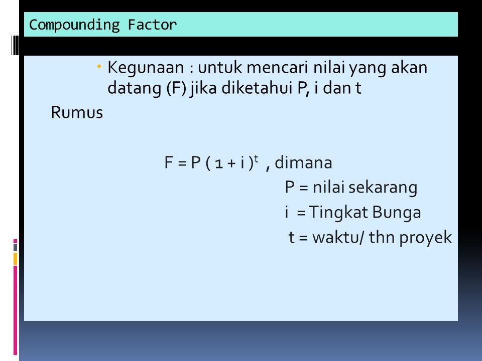 Compounding Factor Kegunaan : untuk mencari nilai yang akan datang (F) jika diketahui P, i dan t. Rumus.