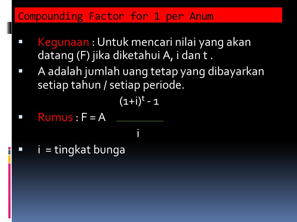Compounding Factor for 1 per Anum