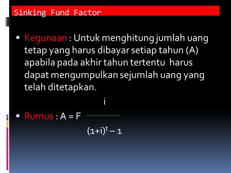 Sinking Fund Factor