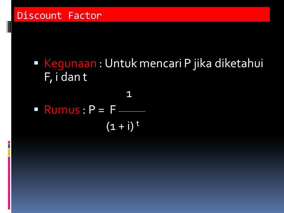 Kegunaan : Untuk mencari P jika diketahui F, i dan t 1 Rumus : P = F