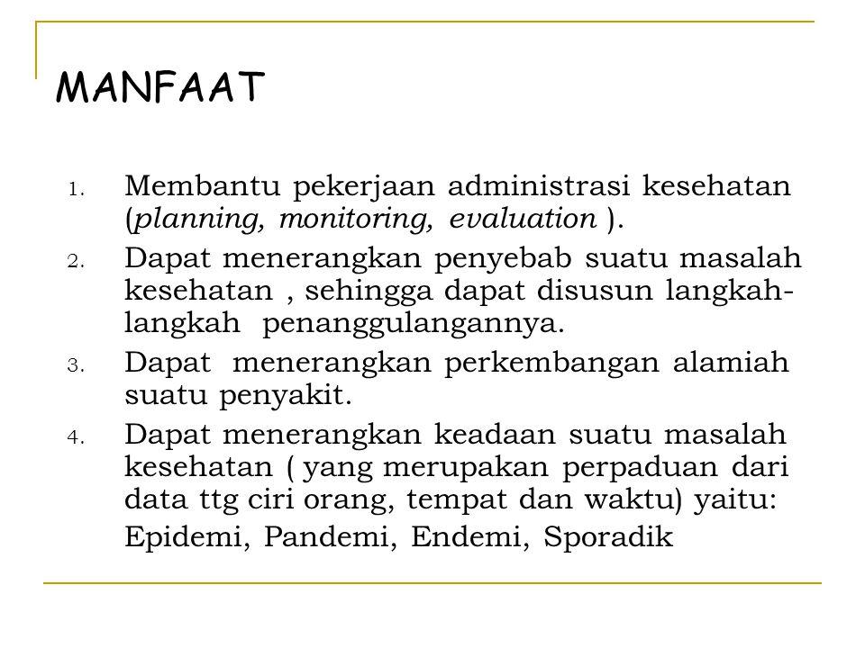 MANFAAT Membantu pekerjaan administrasi kesehatan (planning, monitoring, evaluation ).