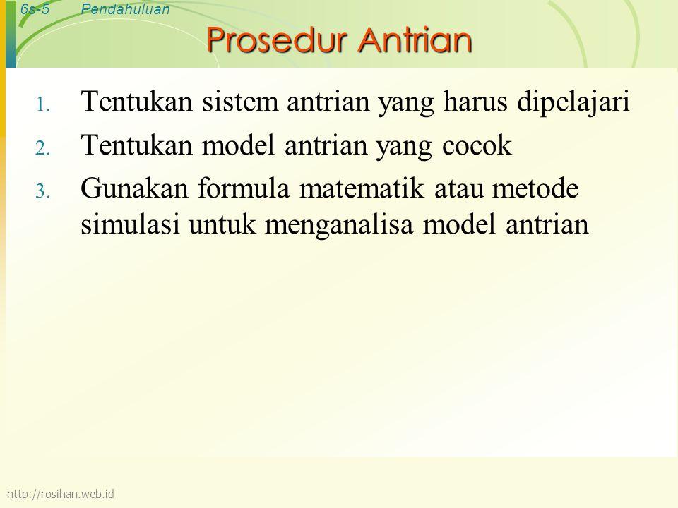 Prosedur Antrian Tentukan sistem antrian yang harus dipelajari