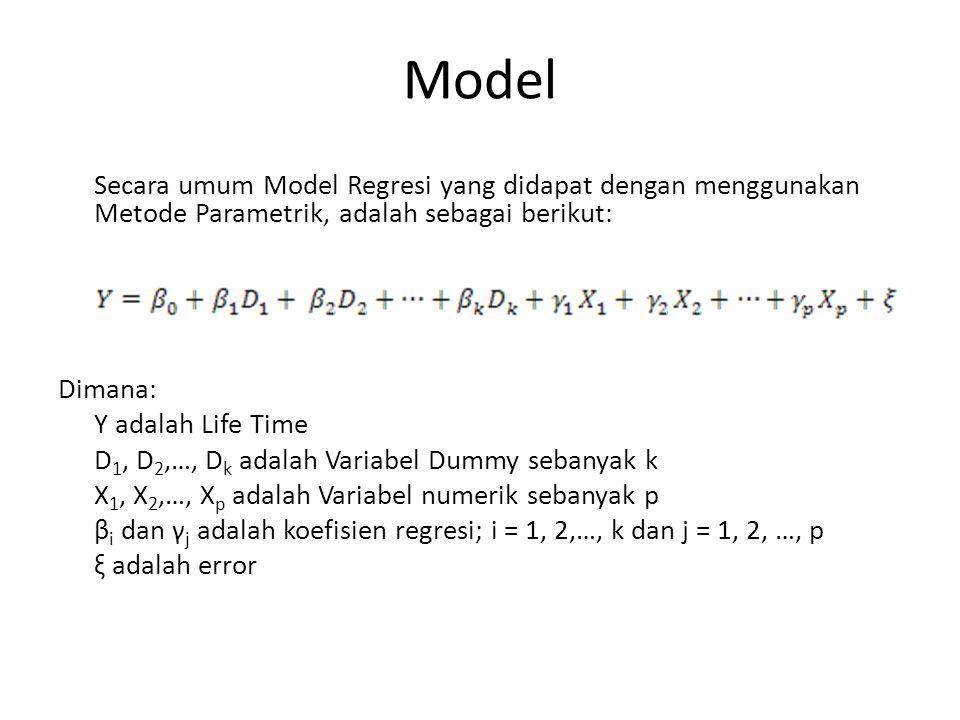 Model Secara umum Model Regresi yang didapat dengan menggunakan Metode Parametrik, adalah sebagai berikut:
