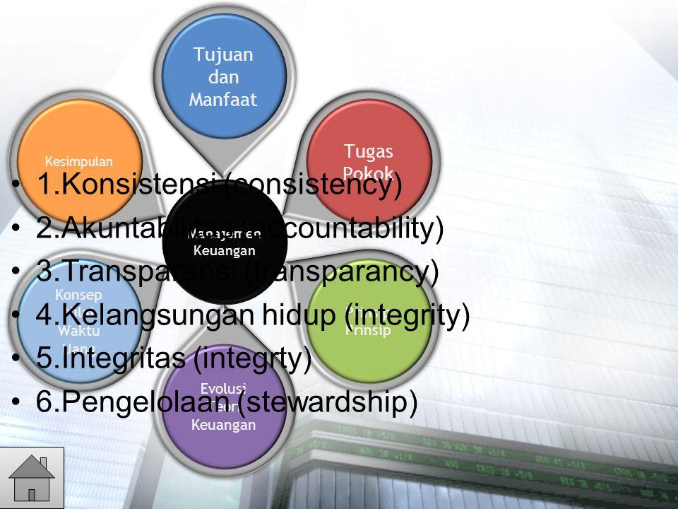 1.Konsistensi (consistency) 2.Akuntabilitas (accountability)