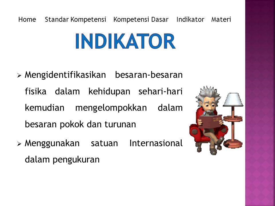 Home Standar Kompetensi. Kompetensi Dasar. Indikator. Materi. INDIKATOR.