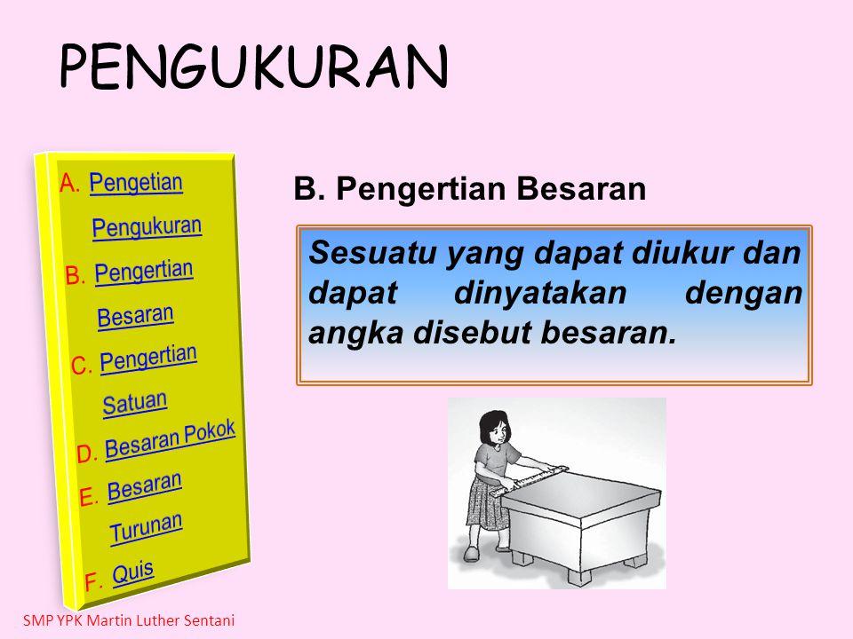 B. Pengertian Besaran Sesuatu yang dapat diukur dan dapat dinyatakan dengan angka disebut besaran.