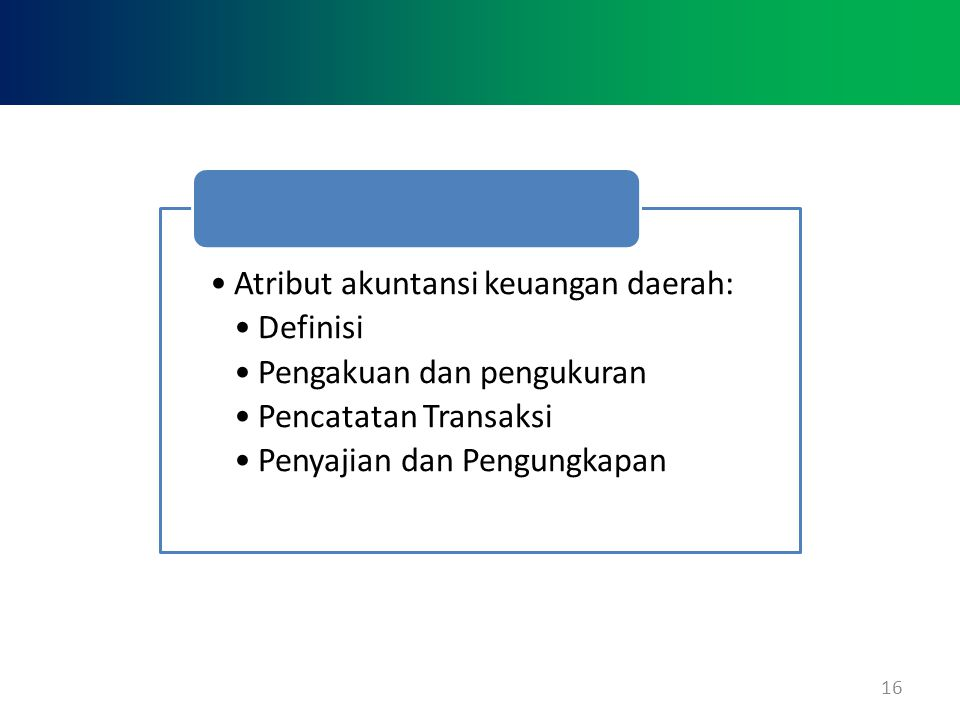 Atribut akuntansi keuangan daerah: