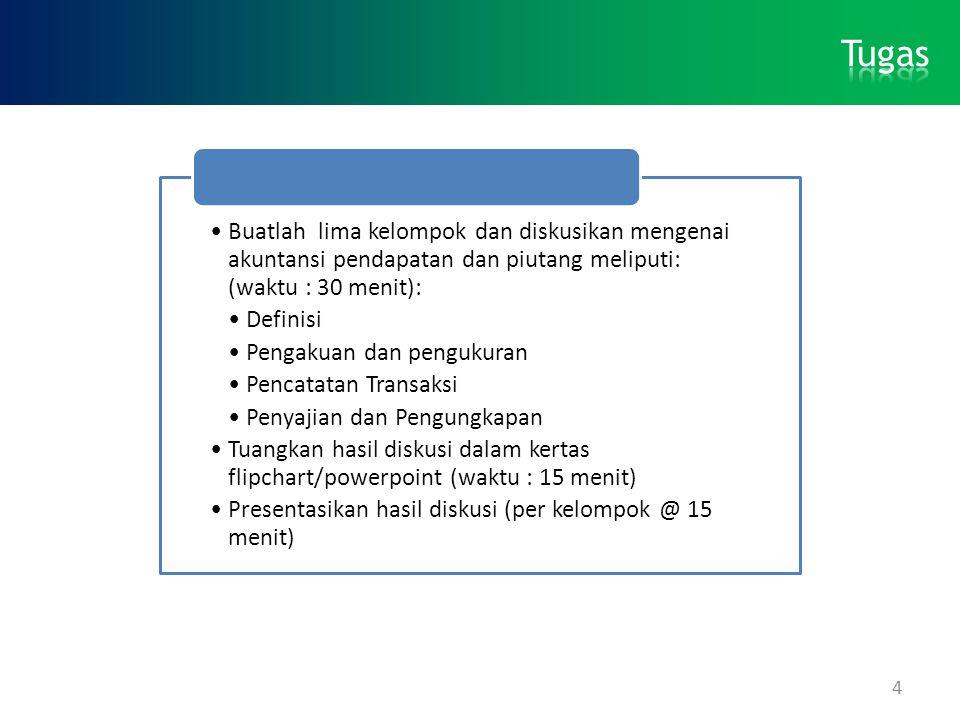 Tugas Buatlah lima kelompok dan diskusikan mengenai akuntansi pendapatan dan piutang meliputi: (waktu : 30 menit):
