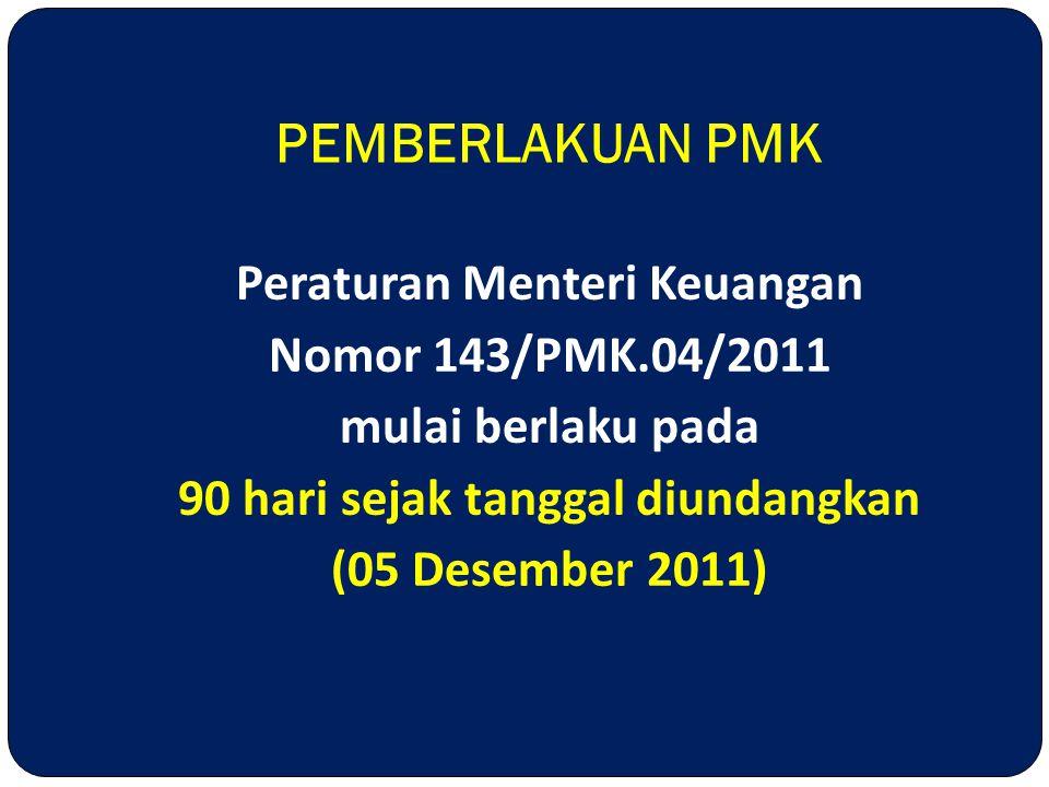 Peraturan Menteri Keuangan 90 hari sejak tanggal diundangkan