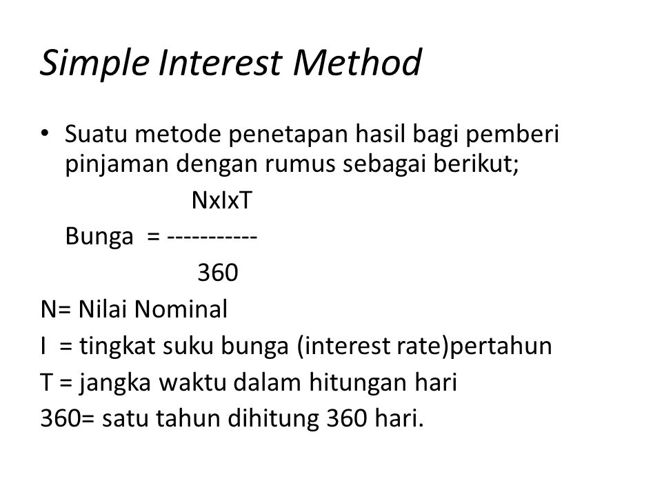 Simple Interest Method