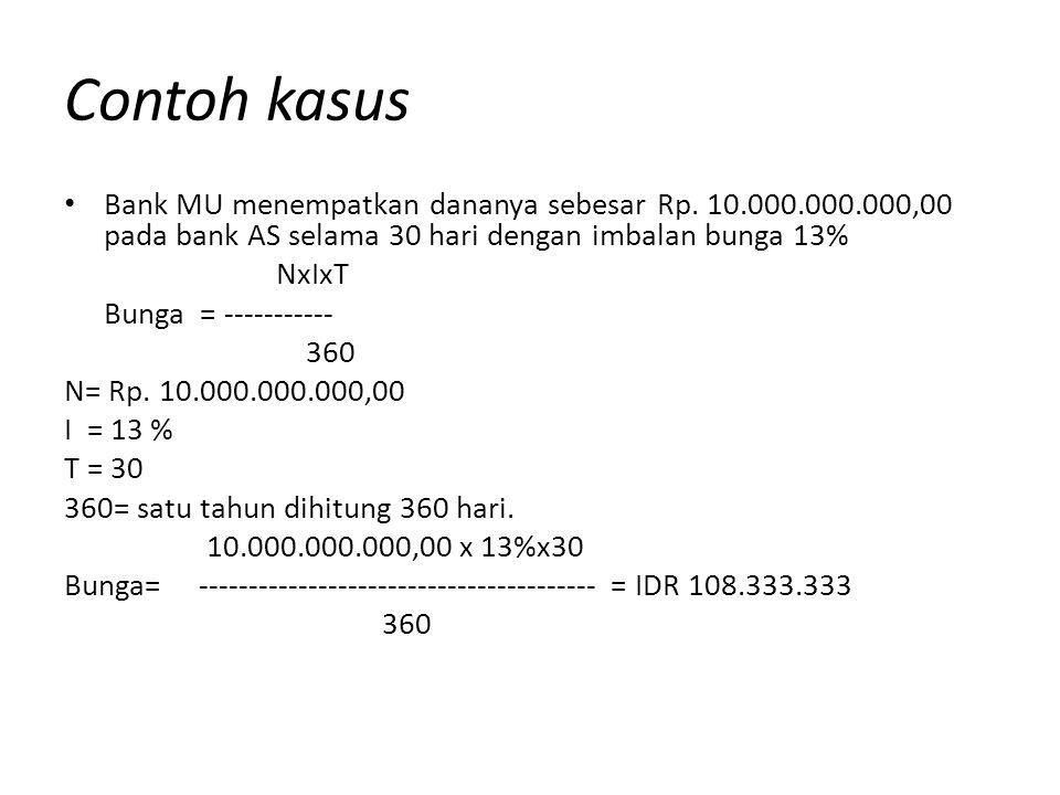 Contoh kasus Bank MU menempatkan dananya sebesar Rp. 10.000.000.000,00 pada bank AS selama 30 hari dengan imbalan bunga 13%