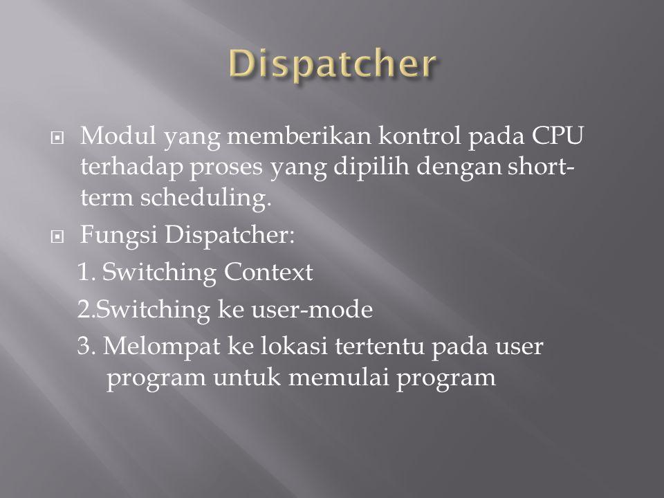 Dispatcher Modul yang memberikan kontrol pada CPU terhadap proses yang dipilih dengan short-term scheduling.