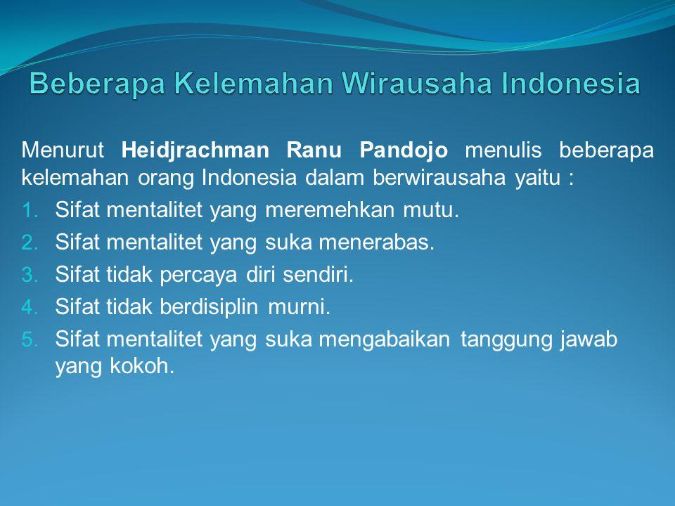 Beberapa Kelemahan Wirausaha Indonesia