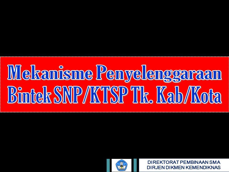 Mekanisme Penyelenggaraan Bintek SNP/KTSP Tk. Kab/Kota