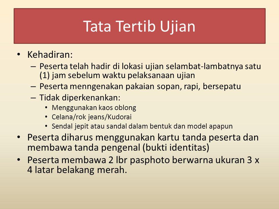 Tata Tertib Ujian Kehadiran: