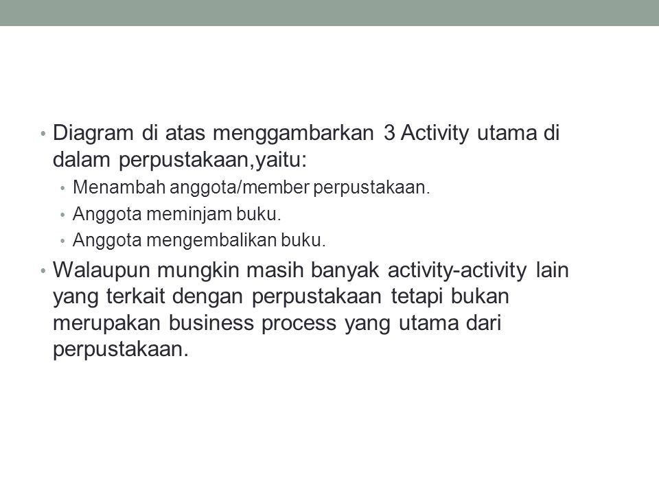 Diagram di atas menggambarkan 3 Activity utama di dalam perpustakaan,yaitu: