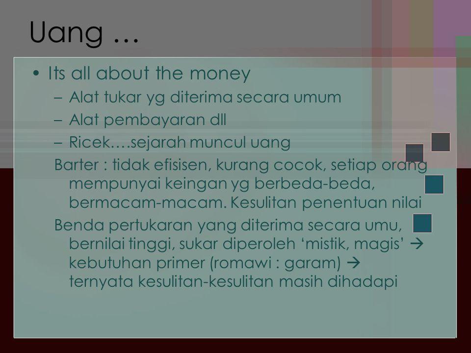 Uang … Its all about the money Alat tukar yg diterima secara umum
