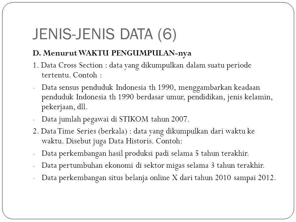 JENIS-JENIS DATA (6) D. Menurut WAKTU PENGUMPULAN-nya